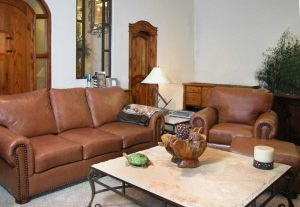Leather Sofa And Chair With Ottoman Full Grain Hides  - LRF9840