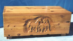 Chest - Table - Horses At Play Memory Dowery Chest - CBC616