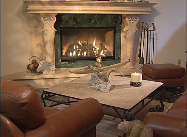 Fireplace Travertine Hand Chiseled Natural Stone Mantel - FPF245