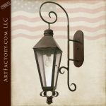 Hand Forged Gas Lamp Style Lantern With Seeded Glass LS112