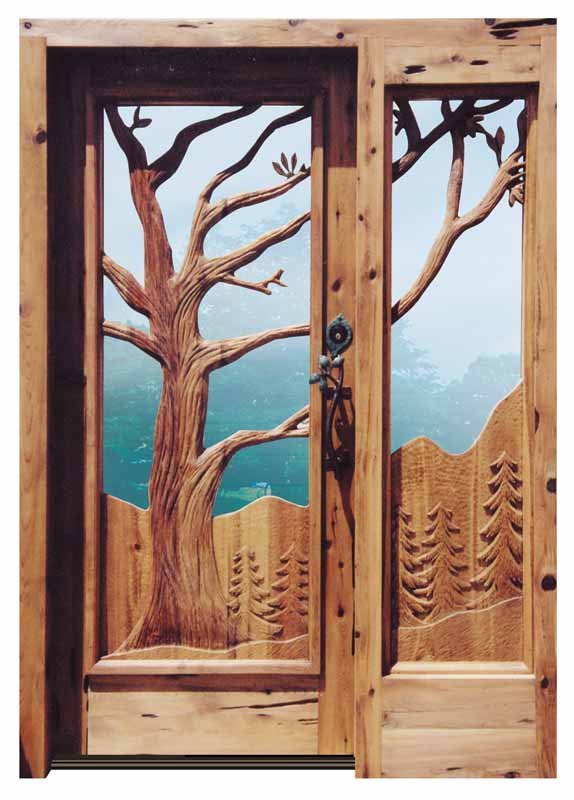 Entrance Door - Hand Carved Trees With Sidelight - 9341HC